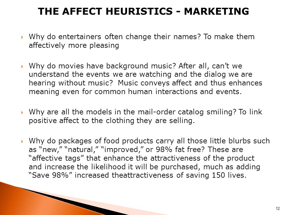 The affect heuristics - marketing