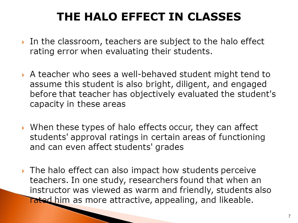 The halo effect In Classes