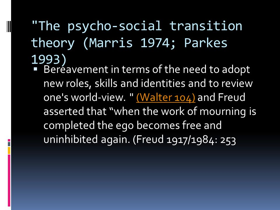 The psycho-social transition theory (Marris 1974; Parkes 1993)