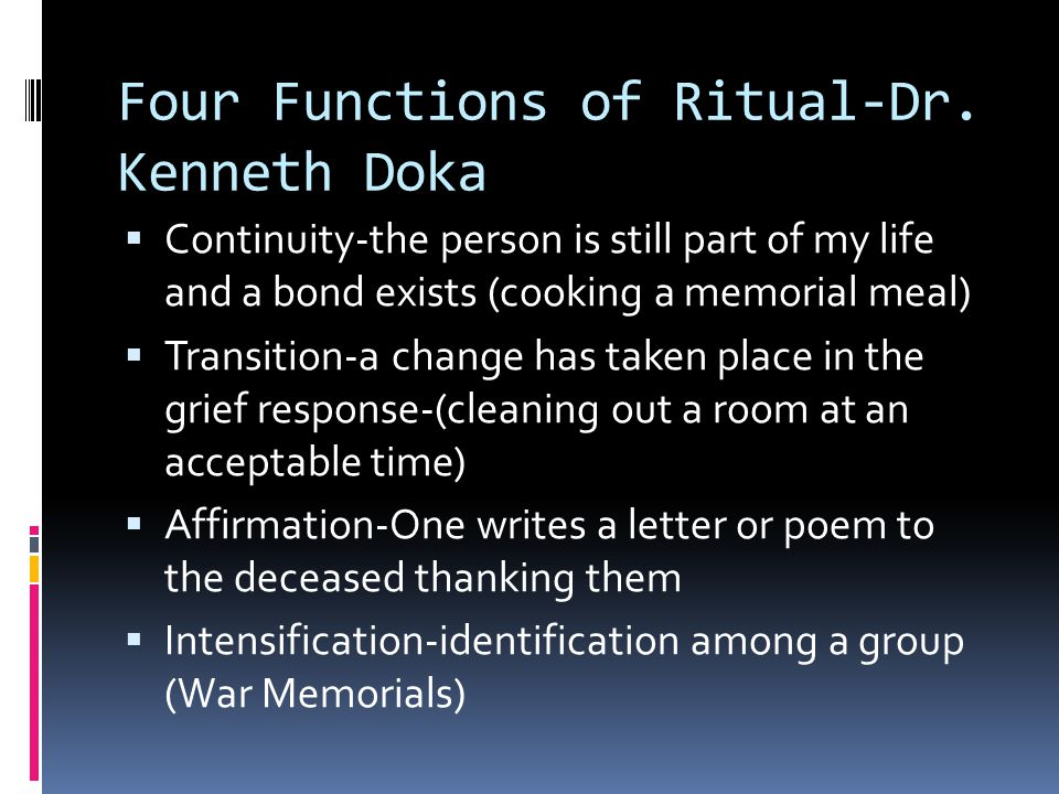 Four Functions of Ritual-Dr. Kenneth Doka