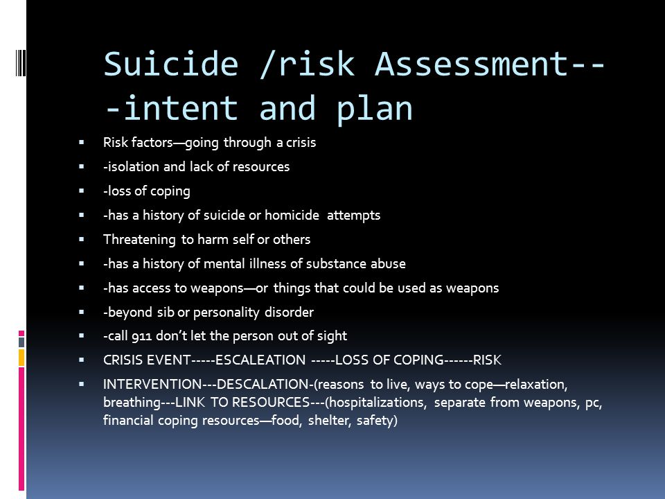 Suicide /risk Assessment---intent and plan