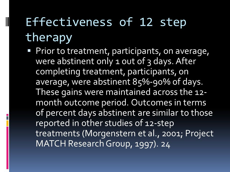 Effectiveness of 12 step therapy