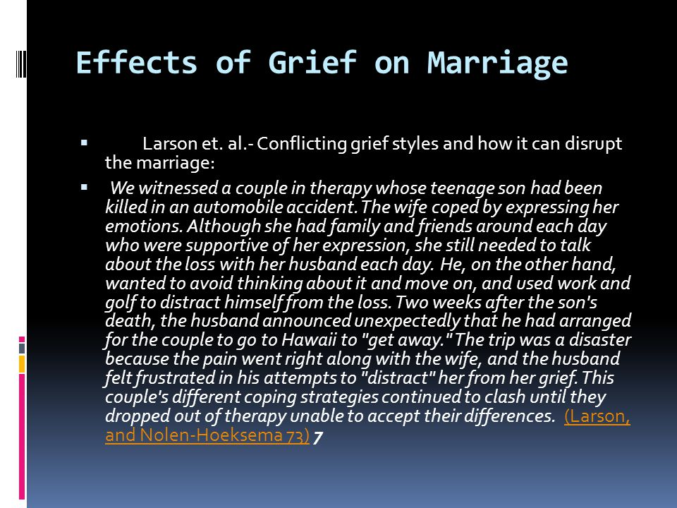 Effects of Grief on Marriage