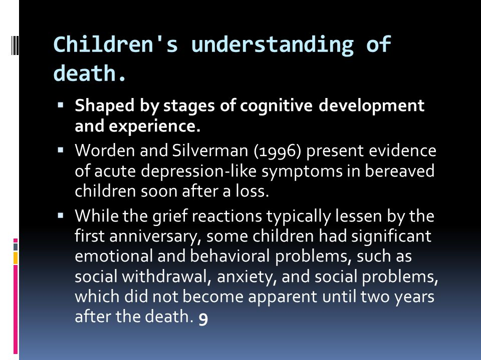 Children s understanding of death.