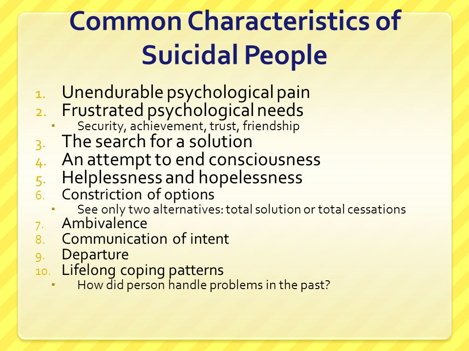 Common Characteristics of Suicidal People