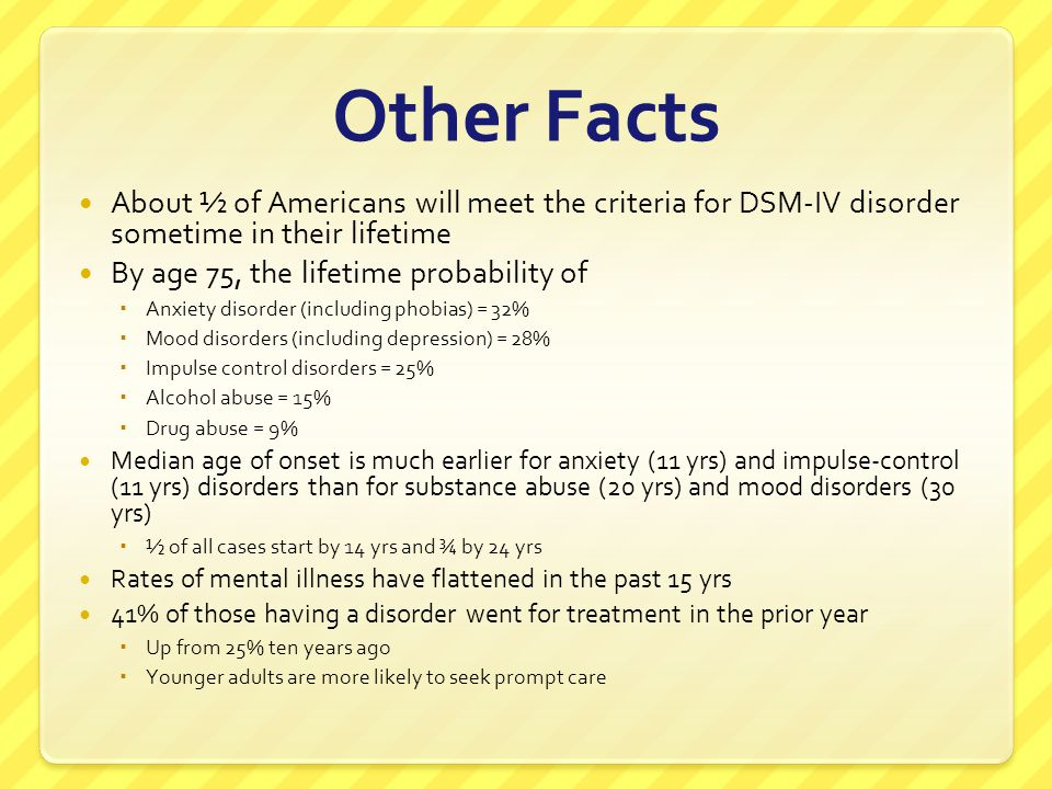 Other Facts About ½ of Americans will meet the criteria for DSM-IV disorder sometime in their lifetime.