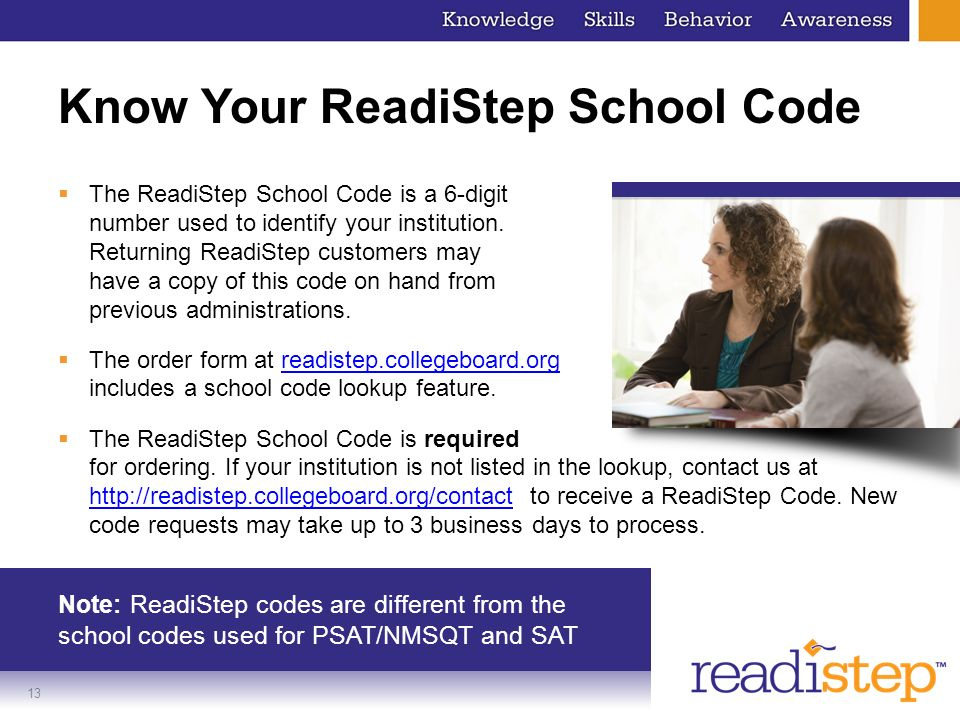 Know Your ReadiStep School Code