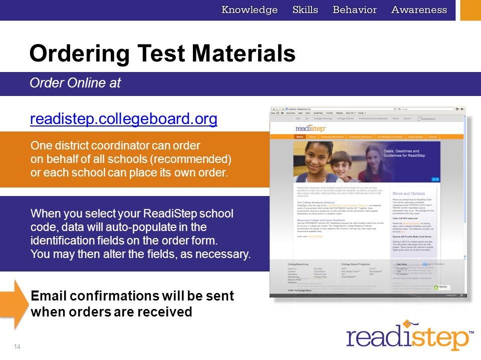 Ordering Test Materials