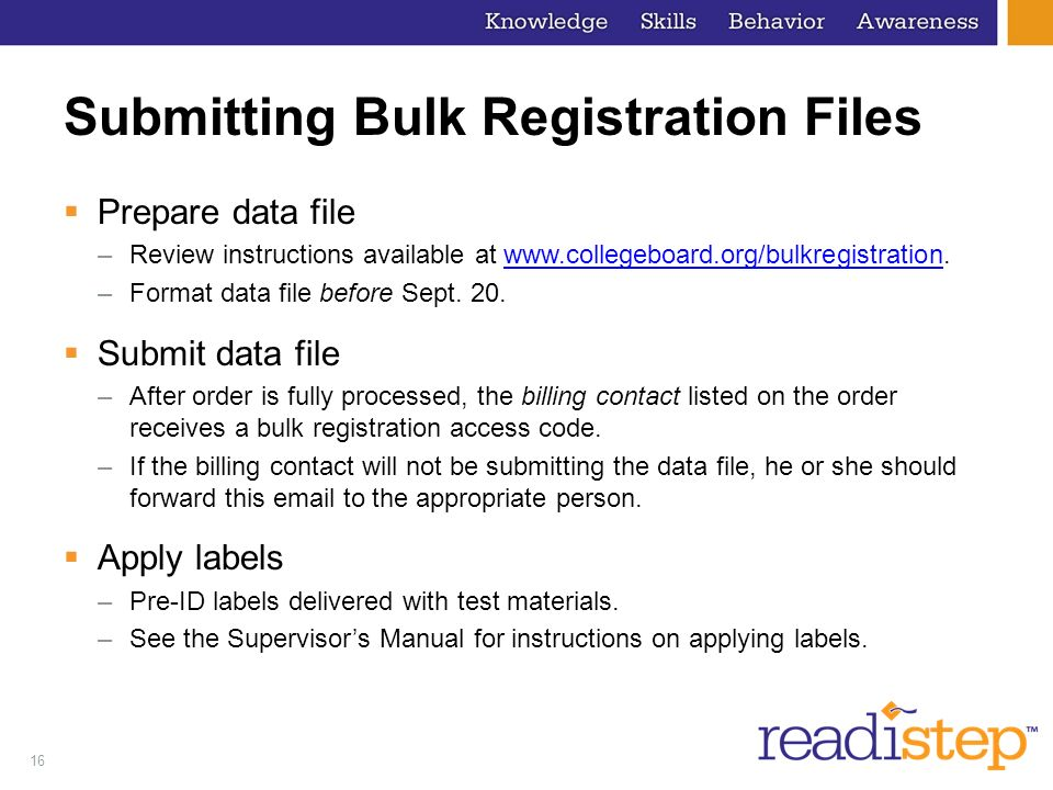 Submitting Bulk Registration Files