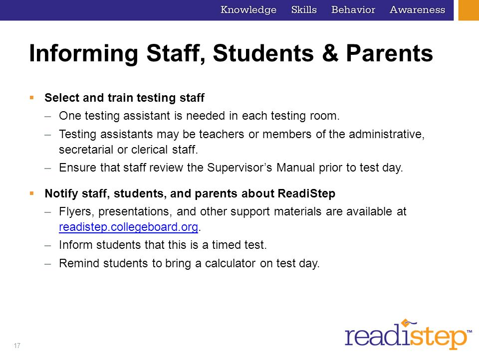 Informing Staff, Students & Parents