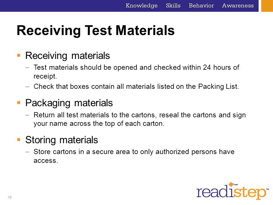 Receiving Test Materials