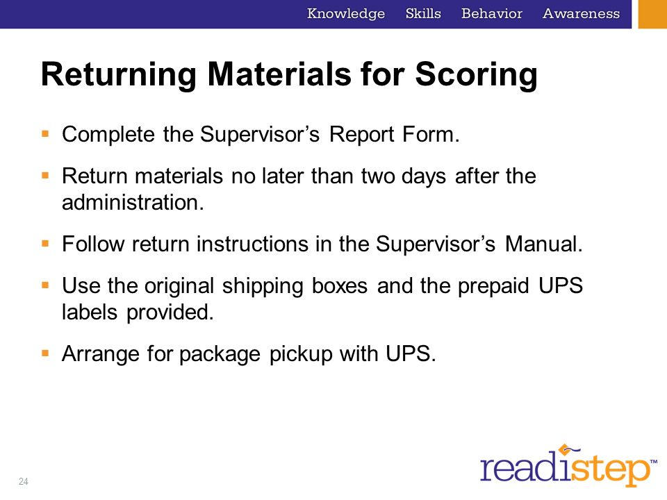 Returning Materials for Scoring