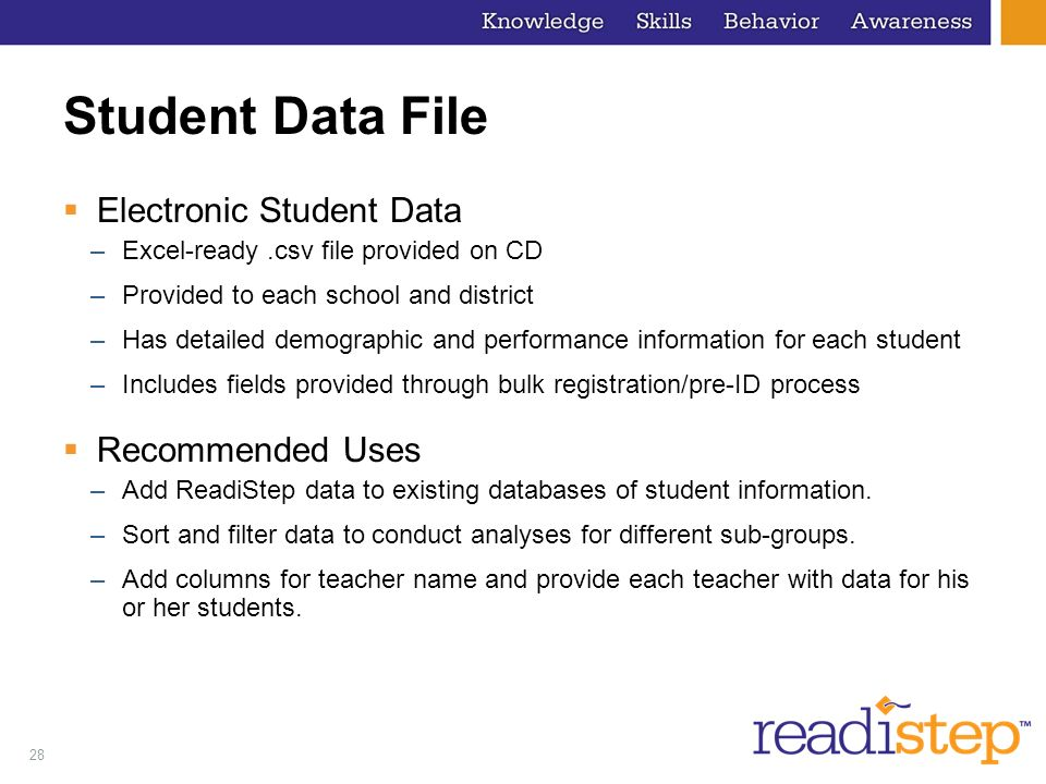 Student Data File Electronic Student Data Recommended Uses
