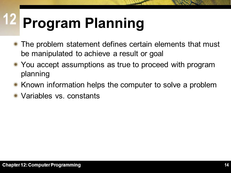 Program Planning The problem statement defines certain elements that must be manipulated to achieve a result or goal.