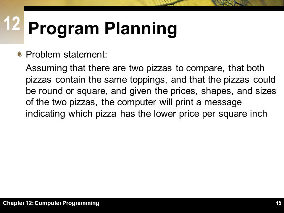 Program Planning Problem statement: