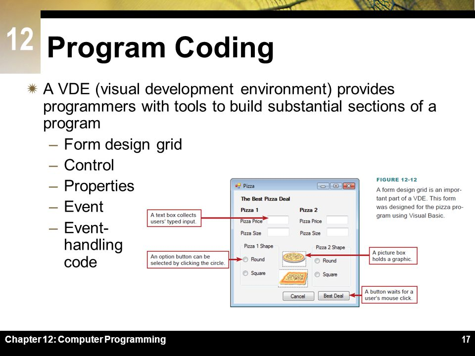 Program Coding A VDE (visual development environment) provides programmers with tools to build substantial sections of a program.