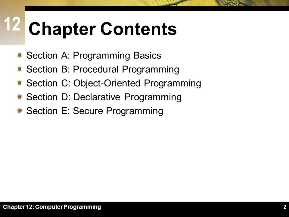 Chapter Contents Section A: Programming Basics
