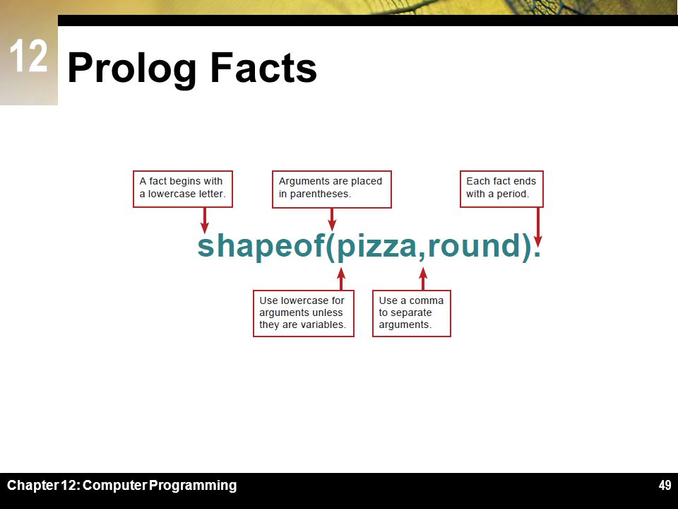 Prolog Facts Figure 12-44 Chapter 12: Computer Programming
