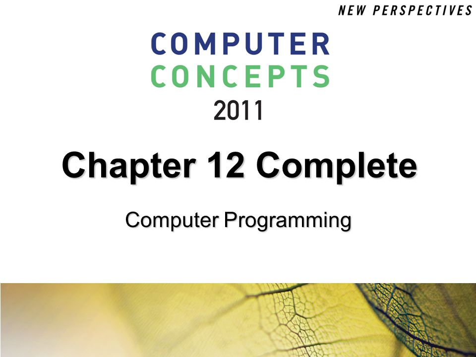 Chapter 12 Complete Computer Programming
