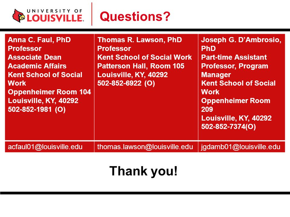 Questions Thank you! Anna C. Faul, PhD Professor