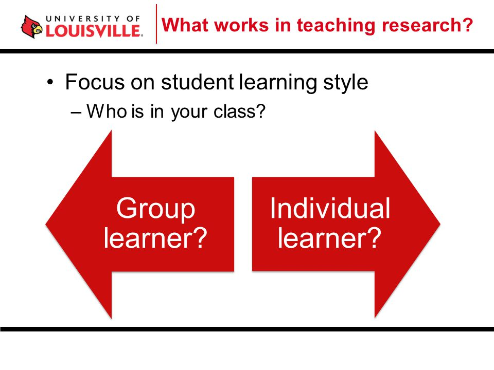 Group learner Individual learner Focus on student learning style