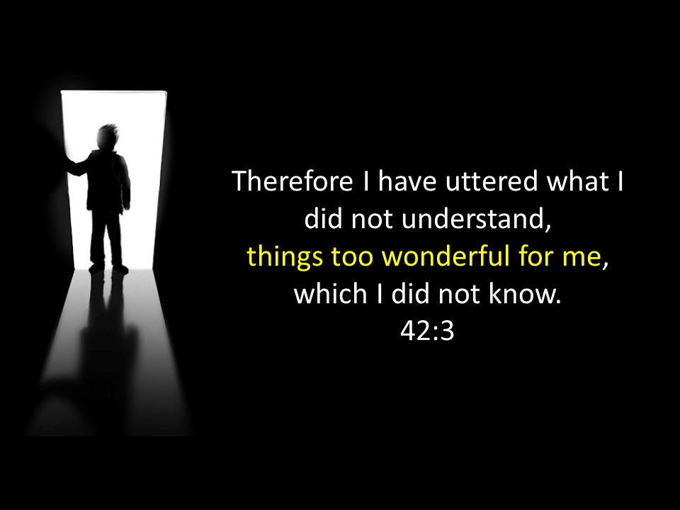 Therefore I have uttered what I did not understand,