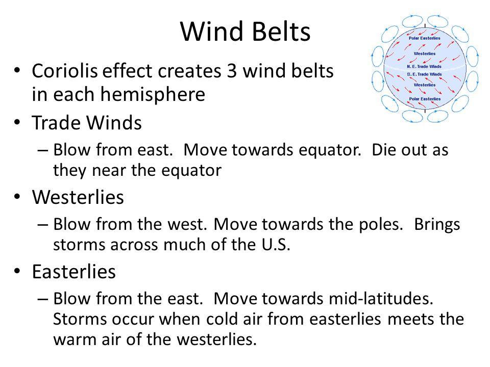 Wind Belts Coriolis effect creates 3 wind belts in each hemisphere