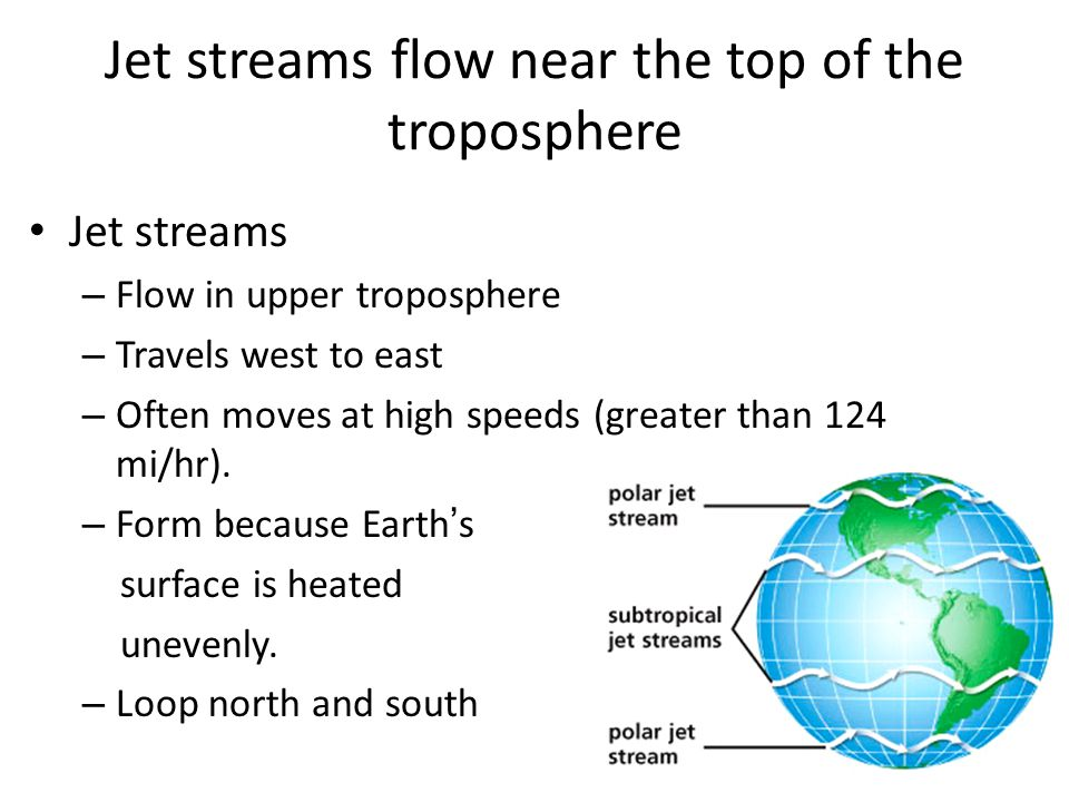 Jet streams flow near the top of the troposphere