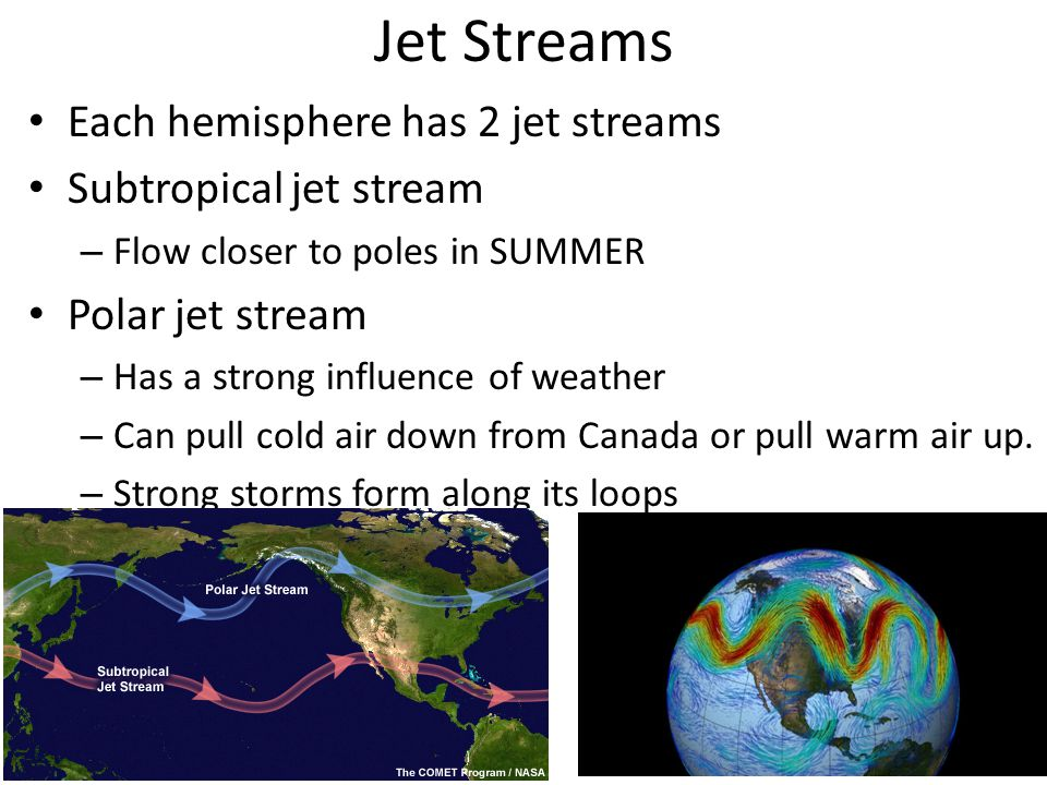 Jet Streams Each hemisphere has 2 jet streams Subtropical jet stream