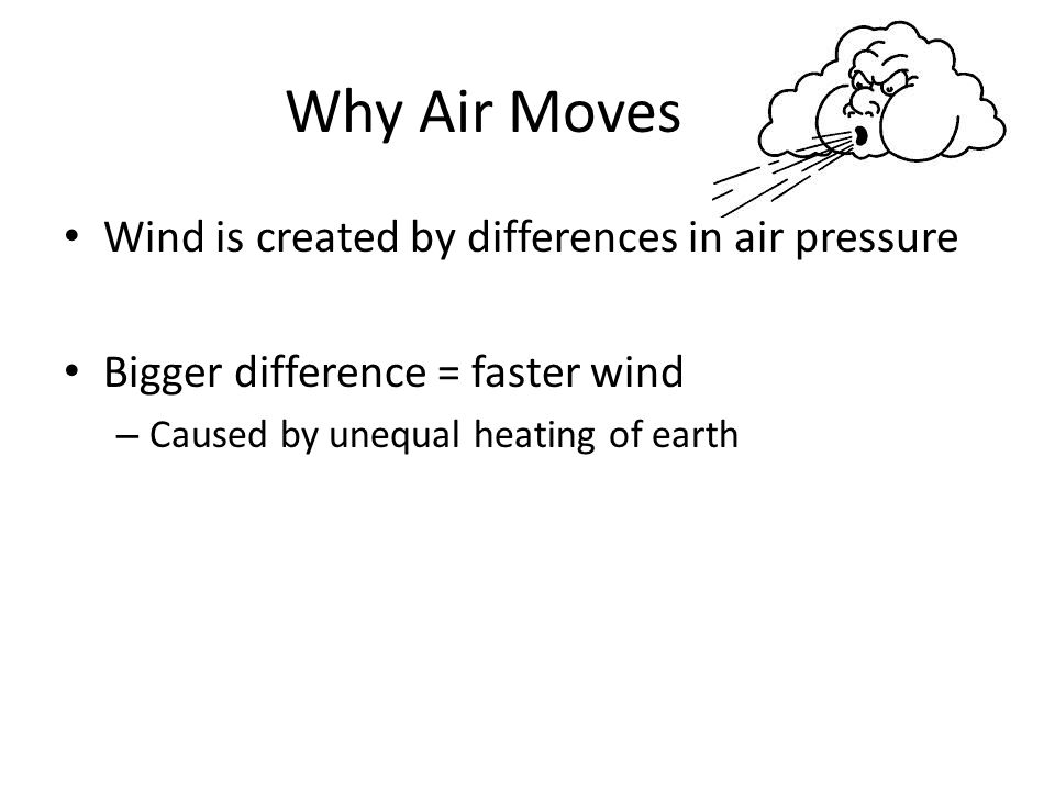 Why Air Moves Wind is created by differences in air pressure