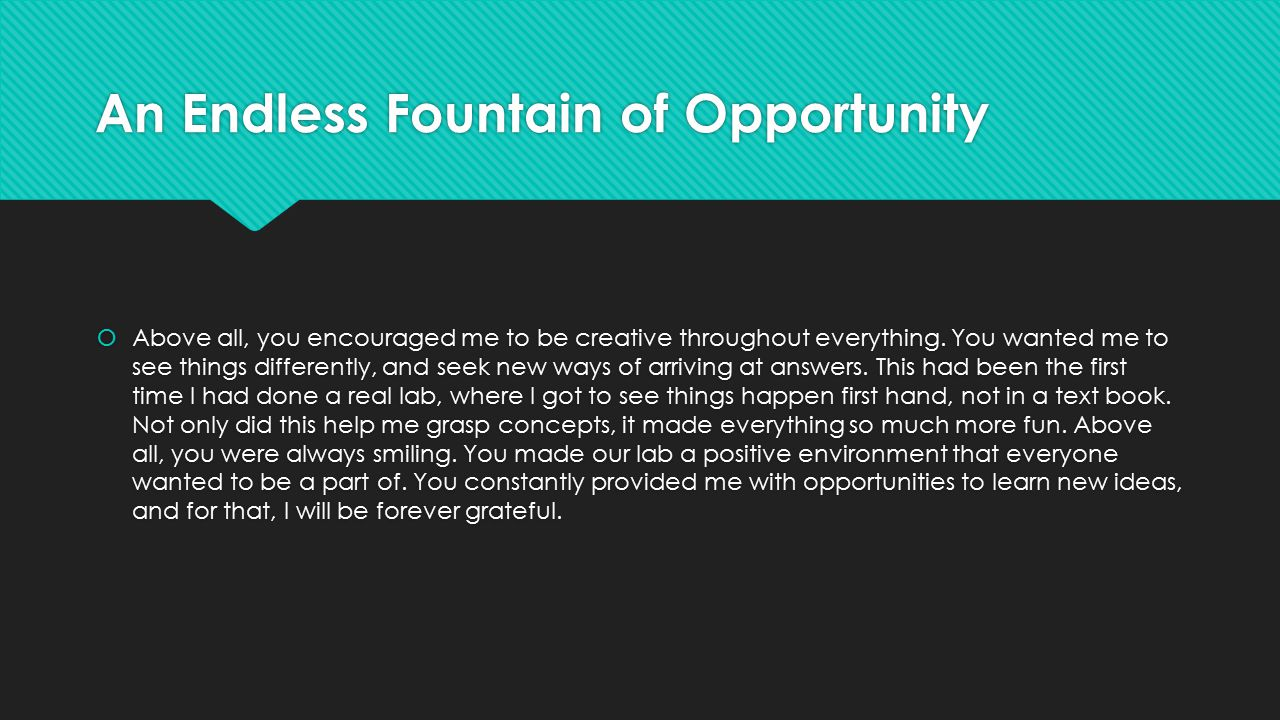 An Endless Fountain of Opportunity