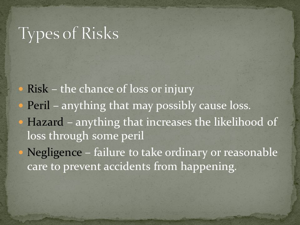 Types of Risks Risk – the chance of loss or injury