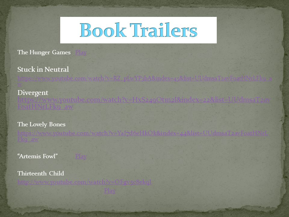 Book Trailers Stuck in Neutral