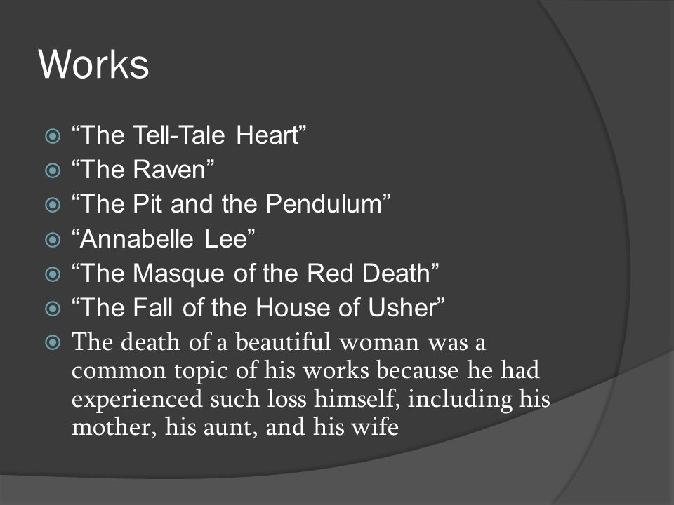 Works The Tell-Tale Heart The Raven The Pit and the Pendulum