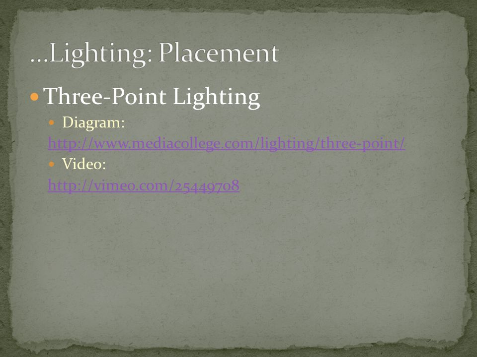 …Lighting: Placement Three-Point Lighting Diagram:
