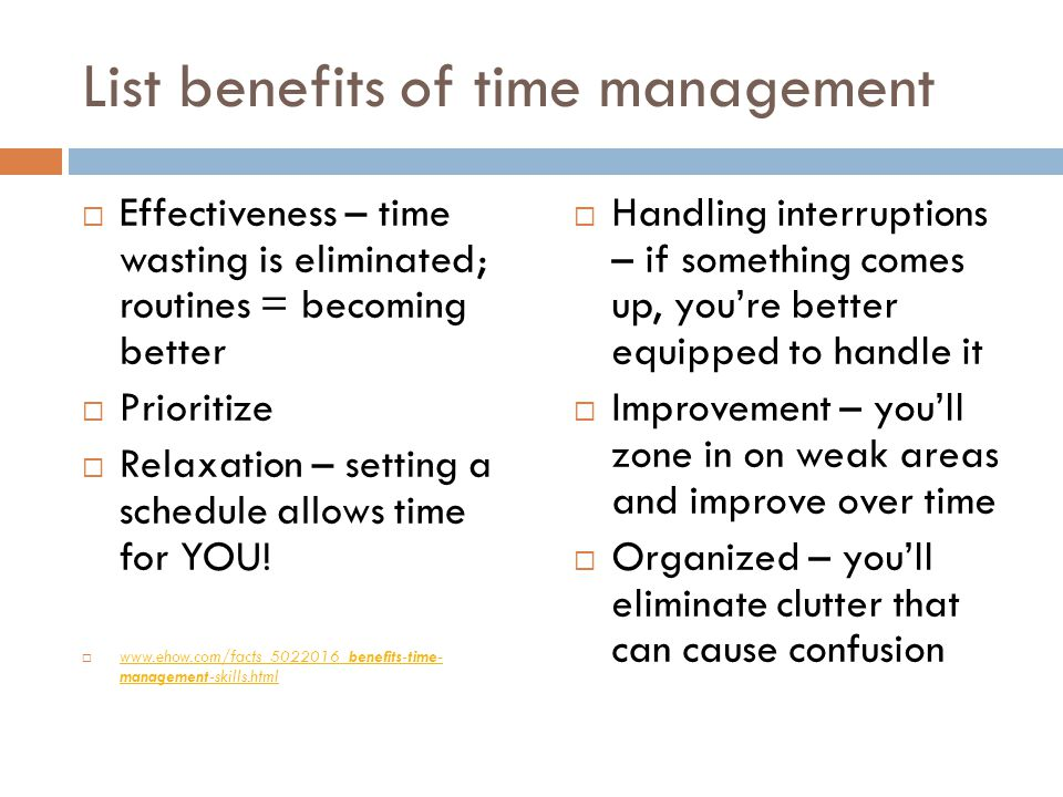 List benefits of time management