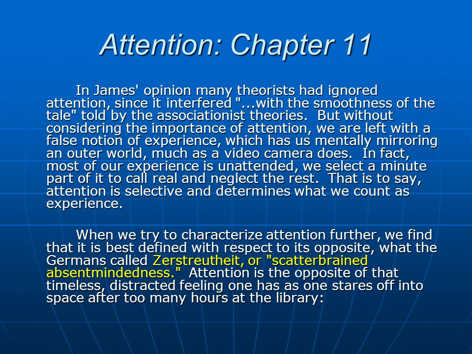 Attention: Chapter 11