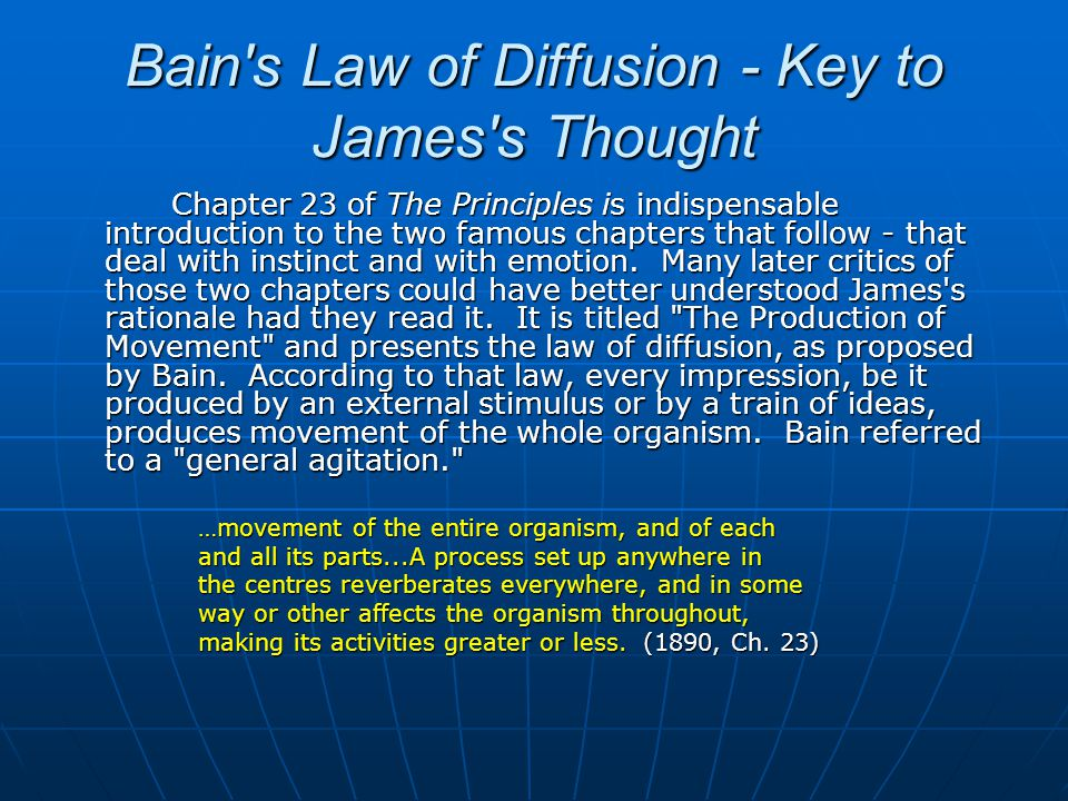 Bain s Law of Diffusion - Key to James s Thought