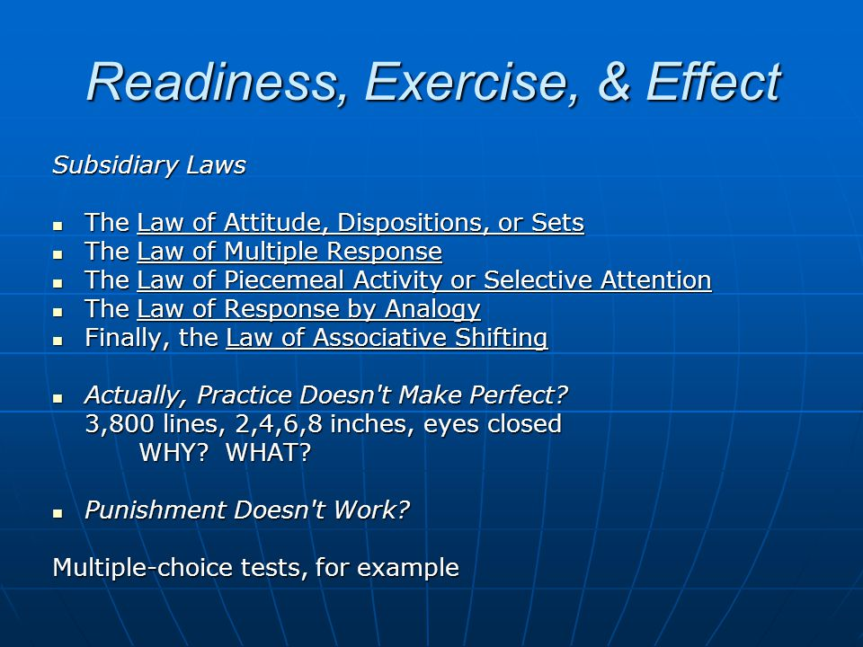 Readiness, Exercise, & Effect