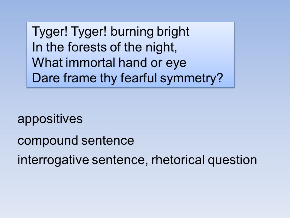 Tyger! Tyger! burning bright In the forests of the night, What immortal hand or eye Dare frame thy fearful symmetry