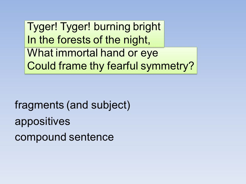 Tyger! Tyger! burning bright In the forests of the night, What immortal hand or eye Could frame thy fearful symmetry