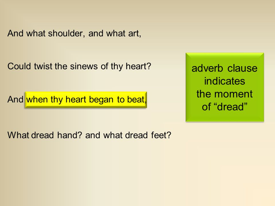 adverb clause indicates the moment of dread