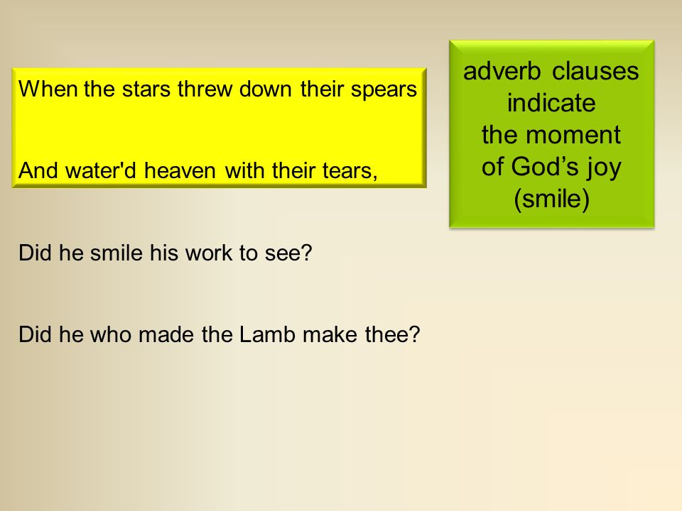 adverb clauses indicate the moment of God's joy (smile)