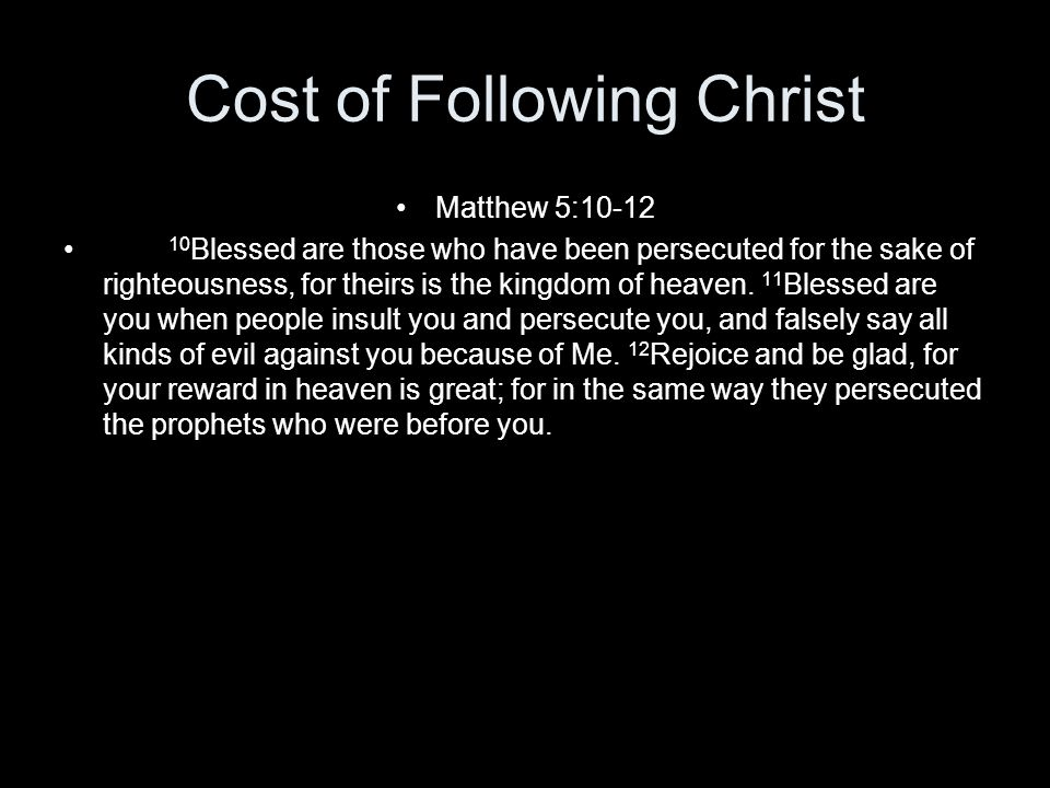 Cost of Following Christ
