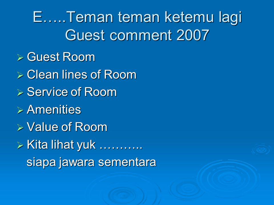 E…..Teman teman ketemu lagi Guest comment 2007