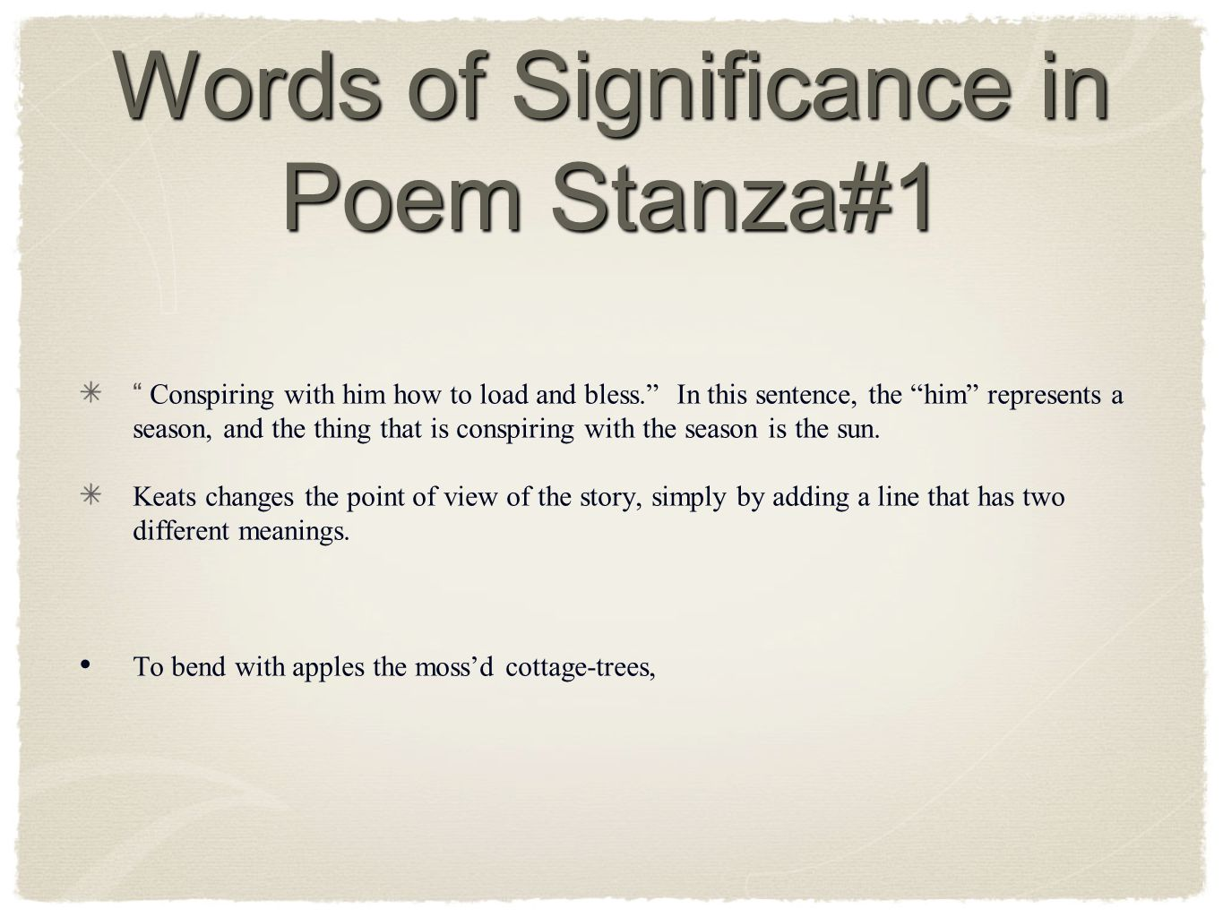 Words of Significance in Poem Stanza#1