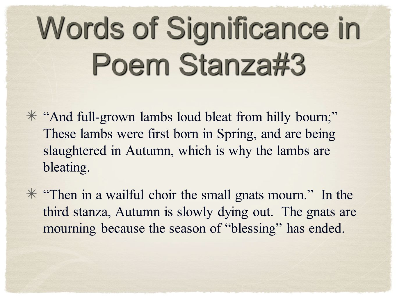 Words of Significance in Poem Stanza#3