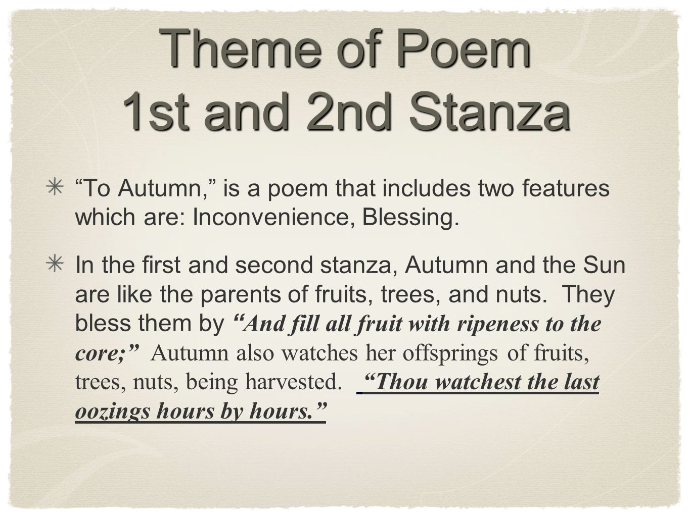 Theme of Poem 1st and 2nd Stanza