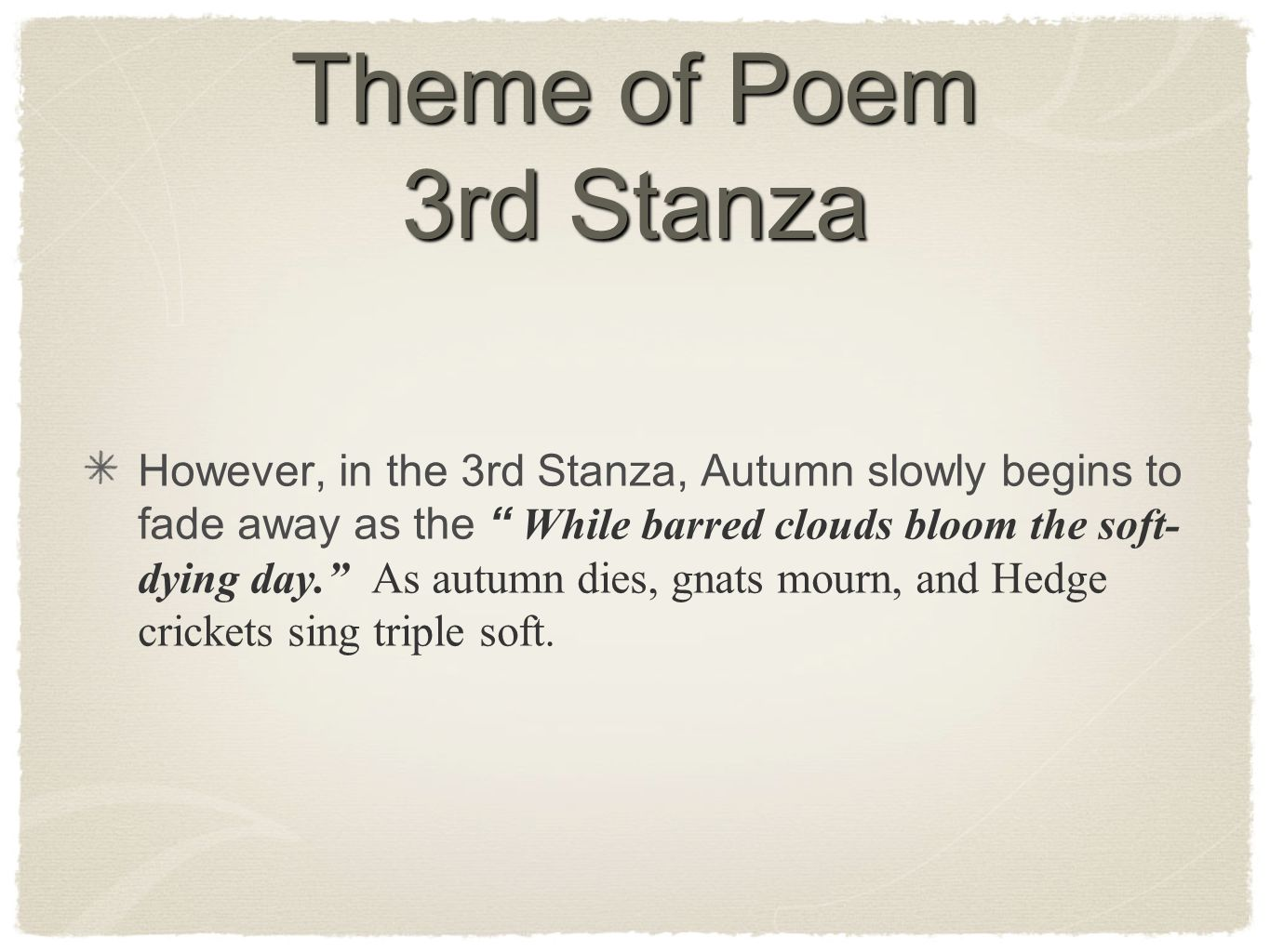 Theme of Poem 3rd Stanza