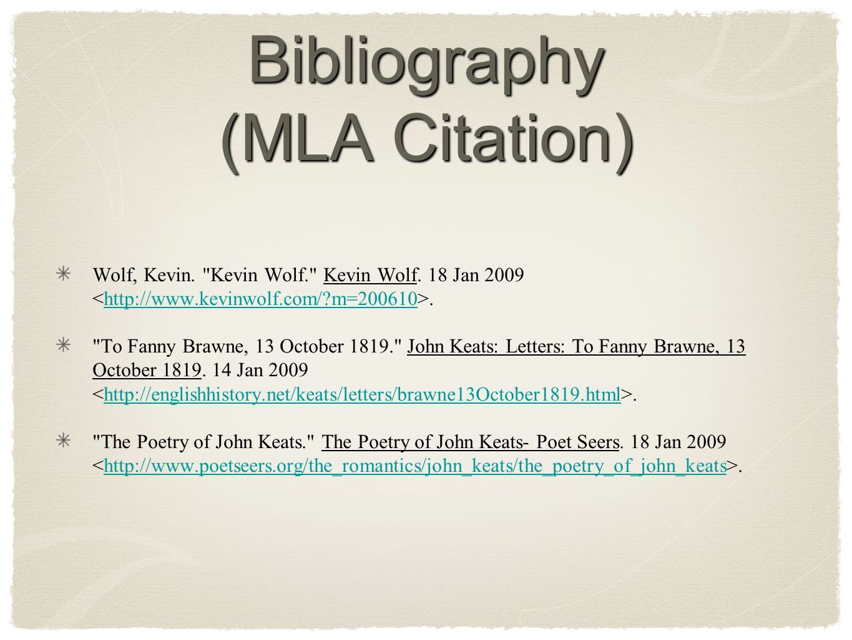 Bibliography (MLA Citation)